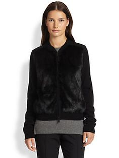 Vince - Zip Front Rabbit Fur Cardigan SAKS $477