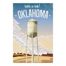 Shop Oklahoma vintage travel poster postcard created by bartonleclaydesign. Oklahoma City National Memorial, Beavers Bend State Park, Manchester Travel, Tour Posters, Water Tower, Vintage Travel Posters, Vacation Trips, Travel Trip, Deco