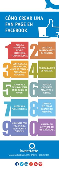 Cómo crear una fan page en FaceBook #infografia #infographic #socialmedia