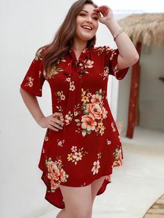 To find out about the Plus Tie Neck Floral Print Dress at SHEIN, part of our latest Plus Size Dresses ready to shop online today! Hi Low Dresses, Simple Dresses, Plus Size Dresses, Plus Size Outfits, Mini Dresses, Halter Dresses, Looks Plus Size, Plus Size Model, Molliges Model