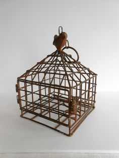 Rustic Weathered Hanging Bird Cage Candle by borninabarnvintage