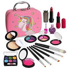 Kids Makeup Kit for Girls, Washable Makeup Kit, Real Play Kids Makeup Set Princess Play Birthday 3 4 5 6 Gift for Little Girls Toys - Default