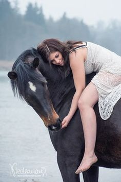 Pretty horse and girl riding bareback. Misty horse photography.