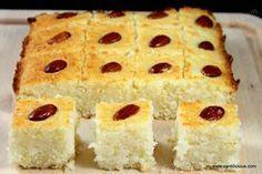 Basbousa (Eggless Arabic Cake) (non-dairy milk and butter replacement=vegan) Eggless Desserts, Eggless Recipes, Eggless Baking, Tart Recipes, Sweet Recipes, Baking Recipes, Dessert Recipes, Baking Breads, Health Desserts