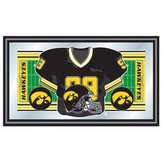 Trademark Global University of Lowa Football Framed Jersey Mirror Features:Football framed jersey mirror.Officially NCAA University of Iowa team colors and logo.Mirror with high quality print. Pittsburgh Penguins Logo, Framed Jersey, Fake Plants Decor, Wood Framed Mirror, Framed Art, Football Jerseys, Football Field, College Football, Fall Mantel Decorations