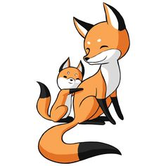"""- Product: wall decal reproduction of pair of anime foxes - Sizes: S-8.6""""w x 14.75""""h; M-14.75""""w x 25.4""""h; L-23""""w x 39.6""""h - Colors: orange, black, white - Style: anime, graphic art, digital illustrati"""