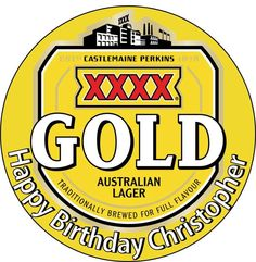 Edible xxxx Gold Lager Beer Wafer Cake Topper round 18cm Birthday Party