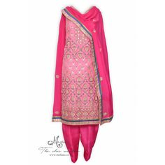 Pretty pink unstitched suit adorn in exquisite multi coloured embroidery-Mohan's the chic window