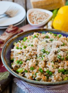 Israeli Couscous with Chicken and Peas - Don't be fooled by the simplicity of this healthy recipe - it packs a ton of flavor! Super quick to prepare and perfect for a busy weeknight dinner!