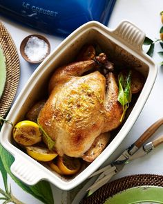 Wondering what to eat tonight? Now you know. Easy Roast Chicken, Roasted Chicken, Easy Weeknight Meals, Easy Healthy Dinners, 6 Ingredient Recipe, Dinner Party Menu, Cast Iron Recipes, Soft Foods, Lemon Recipes