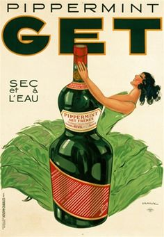 Pippermint Get poster by Jules Isnard Dransy- Beautiful Vintage Poster Reproductions. This vertical French wine and spirits poster features a woman in a green dress dancing around a giant bottle. Giclee Advertising Print. Classic Posters