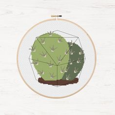 Cactus Cross Stitch Pattern Succulent Geometric Terrarium Instant Download PDF Cacti Modern Cross Stitch Chart Nature Crafts DIY Gift Idea - pinned by pin4etsy.com