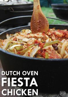 Dutch oven fiesta chicken is a delicious addition to any cookout Iowa DNR Cast Iron Dutch Oven, Cast Iron Cooking, Oven Cooking, Skillet Cooking, Cooking Steak, Skillet Recipes, Dutch Oven Chicken, Camping Meals, Camping Recipes