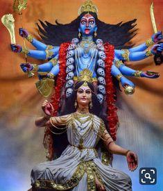 Indian Goddess Kali, Durga Goddess, Indian Gods, Maa Kali Images, Durga Images, Maa Durga Image, Durga Ji, Kali Hindu, Durga Painting