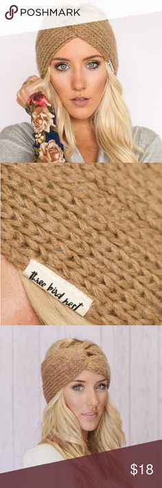 Coming soon!  Knitted Turband Twist Headband- Tan Super soft, cozy, perfectly spun yarn for all day wear. Moisture wicking, and wide coverage for elegant hair days while keeping you warm and toasty. Three Bird Nest Accessories Hair Accessories