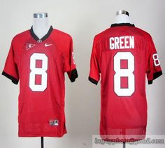 Bulldogs  8 A.J. Green Red Embroidered NCAA Jersey 24ed80a07