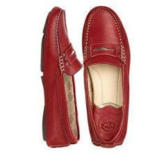 CLAIRE STUDDED PENNY DRIVER - Red Sheepskin from Johnston & Murphy#johnstonmurphy
