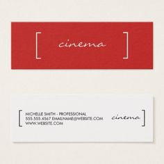 Minimalist / Bracket Embellished (Red) Mini Business Card