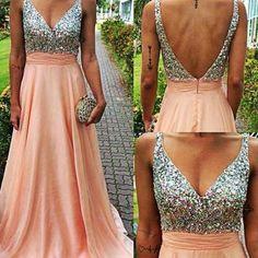A-Line Pink Backless V Neck Long Prom Dress