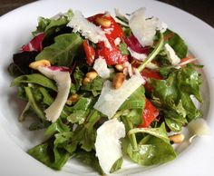 Italian Mixed Salad with Homemade Roasted Red Peppers, Pine Nuts and Shaved Parm Recipe – The Lemon Bowl
