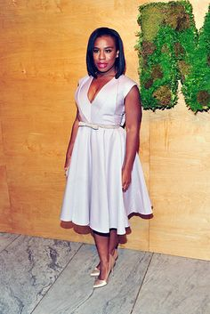 "Exhibit B: This sleek, pale gray, cleavage-baring belted dress. | Uzo Aduba's Red Carpet Game Is ""Crazy"" Beautiful"
