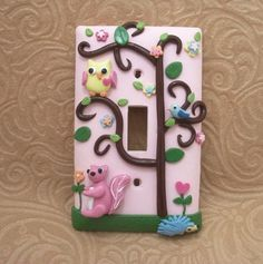 Polymer clay light switch cover saved by Elizabeth Polymer Clay Animals, Fimo Clay, Polymer Clay Projects, Polymer Clay Charms, Polymer Clay Art, Clay Beads, Clay Crafts, Diy And Crafts, Play Clay