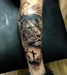 Lion tattoos hold different meanings. - Lion tattoos hold different meanings. Lions are known to be proud and courageous creatures. Lion Leg Tattoo, Lion Shoulder Tattoo, Calf Tattoo Men, Lion Forearm Tattoos, Lion Tattoo Sleeves, Lion Head Tattoos, Mens Lion Tattoo, Leg Sleeve Tattoo, Best Sleeve Tattoos