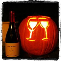 Halloween Wine Pumpkin Carving - I am doing this one next year! Holidays Halloween, Fall Halloween, Halloween Party, Halloween Ideas, Halloween Pumpkins, Halloween Decorations, Wine Craft, Glass Pumpkins, Wine Parties