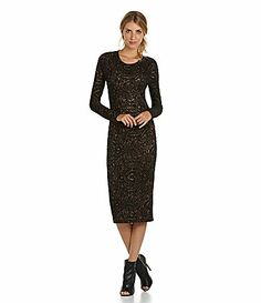 Chelsea and Violet Jacquard Sheath Dress #Dillards black/bronze, black/red poly/rayon/spandex  (88.00) NA
