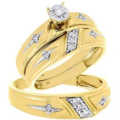 10K Yellow Gold Round Cut Diamond Men's & Ladies Round w/ Crosses Engagement + Wedding Trio Set 0.20 Cttw. His and Her Matching Three Piece Ring Set. Item in image is smaller than it appears. It is enlarged to show details. Picture on hand will give a very good idea of true size. Available in Ladies size 7, Mens size 10, We do offer sizing. Round Cut with Prong Setting. 10K Yellow Gold, I1 - I2 Clarity, I - J Color, Approximately 5.5 grams. Comes with Appraisal Certificate (insurance...