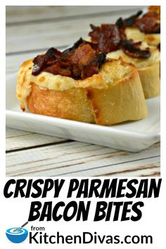 Crispy Parmesan Bacon Bites are an easy snack or appetizer to make! The cheesy parmesan mixture includes garlic, onions and as much bacon as you desire! Addictive and delicious! Bacon Appetizers, Appetizers For Party, Appetizer Recipes, Gourmet Recipes, Cooking Recipes, Bacon Recipes, Gluten Free Puff Pastry, Yummy Food, Tasty