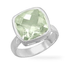 Faceted Green Amethyst Ring