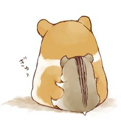 With their round eyes and tiny bodies, hamsters are just adorable! Kawaii Chibi, Cute Chibi, Kawaii Cute, Kawaii Anime, Cute Animal Drawings, Kawaii Drawings, Cute Drawings, Cute Hamsters, Dibujos Cute