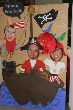 Peter Pan pirate party DIY photo booth- painted with my son's acrylic paints on to cardboard with signs cut using Zing