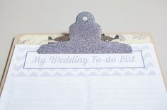 DIY Wedding ~ To-do List Clipboard with FREE printables!