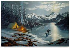 "D. Rusty Rust 'Ice Fishing' Canvas Art - 12"" x 19"""