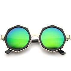 Oversize Geometric Octagon Mirrored Lens Round Sunglasses A111 (33 BRL) ❤ liked on Polyvore featuring accessories, eyewear, sunglasses, oversized circle sunglasses, oversized square sunglasses, square sunglasses, octagon sunglasses and round mirrored sunglasses