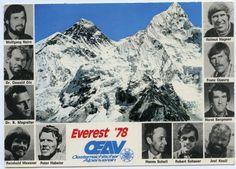 "Expeditions-Postkarte ""Everest '78 / OEAV Oesterreichischer Alpenverein"" (Bildnachweis: ÖAV-Archiv ) Mount Everest, Mount Rushmore, Poster, Museum, Nature, Travel, Mountain Climbers, Entrepreneur, Graz"