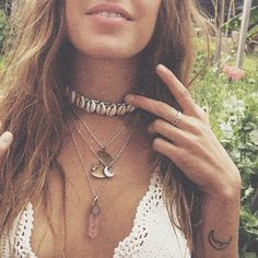 Cowrie shell choker with sterling silver necklaces, and an energy stone necklace. So much boho going on here!     //Pinned on @benitathediva, DIY Fashion LifeSTYLE Blog