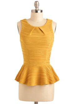 Ripple Tide Top - Yellow, Print, Peplum, Sleeveless, Short, Party, Work, Casual