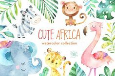 Cute Africa. Animals & Florals. Watercolor Collection of cute Animals and Florals included Characters, Floral Elements, Fruits, Leaves and more. This set is just what you needed for the perfect invitations, craft & DIY projects, paper products, party decorations, printable, greetings cards, posters, stationery, scrapbooking, stickers, t-shirts, baby clothes, web designs and much more.