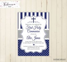 Invitation christening boy blue printable first communion invitation boy baptism invitation in spanish comunion in spanish digital file 178 - invates First Communion Invitations, Christening Invitations, Boys First Communion, Boy Baptism, Party Items, Party Printables, Printing Services, Event Planning, Messages