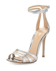 Mirrored Ankle-Wrap Sandal, Silver by Gianvito Rossi at Bergdorf Goodman.