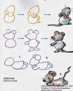 Tre möss i tre steg / learn to draw mice / apprendre à dessiner une souris Cartoon Drawings, Easy Drawings, Animal Drawings, Drawing Sketches, Sketching, Drawing Lessons, Drawing Techniques, Art Lessons, Drawing For Kids