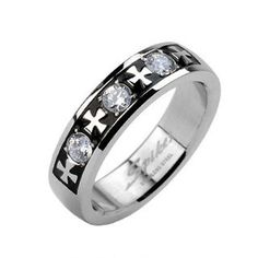 MIRROR POLISHED STAINLESS STEEL RING WITH MALTESE CROSSES AND TRIPLE CZ BAND. COUPLE RING.
