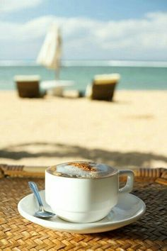 Morning coffee time at the beach. One of my all time favorite things. Coffee Is Life, I Love Coffee, Coffee Break, My Coffee, Morning Coffee, Coffee Lovers, Morning Sky, Coffee Cafe, Coffee Drinks