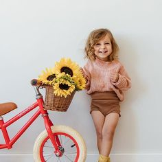 Little Penny you are such a joy 💖 And I love how you still pat your bike whenever you walk past it 😄 Cute balance bike from… Little Girl Outfits, Little Girl Fashion, Toddler Fashion, Toddler Outfits, Boy Outfits, Kids Fashion, Babies Fashion, Cute Kids, Cute Babies