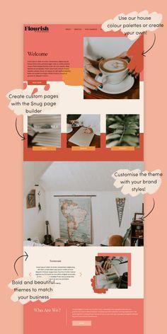 Http: Discover Flourish Wordpress Theme - Snug Designs Flourish Wordpress Theme by Snug Designs Website Design Layout, Website Design Inspiration, Layout Design, App Design, Design Ideas, Website Templates, Website Tutorial, Website Ideas, Free Website