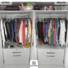 Quando há roupas demais e espaço de menos temos um problema insolúvel?! NÃO!  Temos que usar a criatividade. Nesse guarda-roupa a situação era exatamente essa então usamos caixas organizadoras como se fossem gavetas.  #ligiapessoaorganizer #blusas #camisas #calça #guardaroupa #closet #personalorganizerrecife