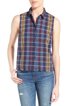 Madewell 'Moment' Plaid Sleeveless Cotton Top available at #Nordstrom